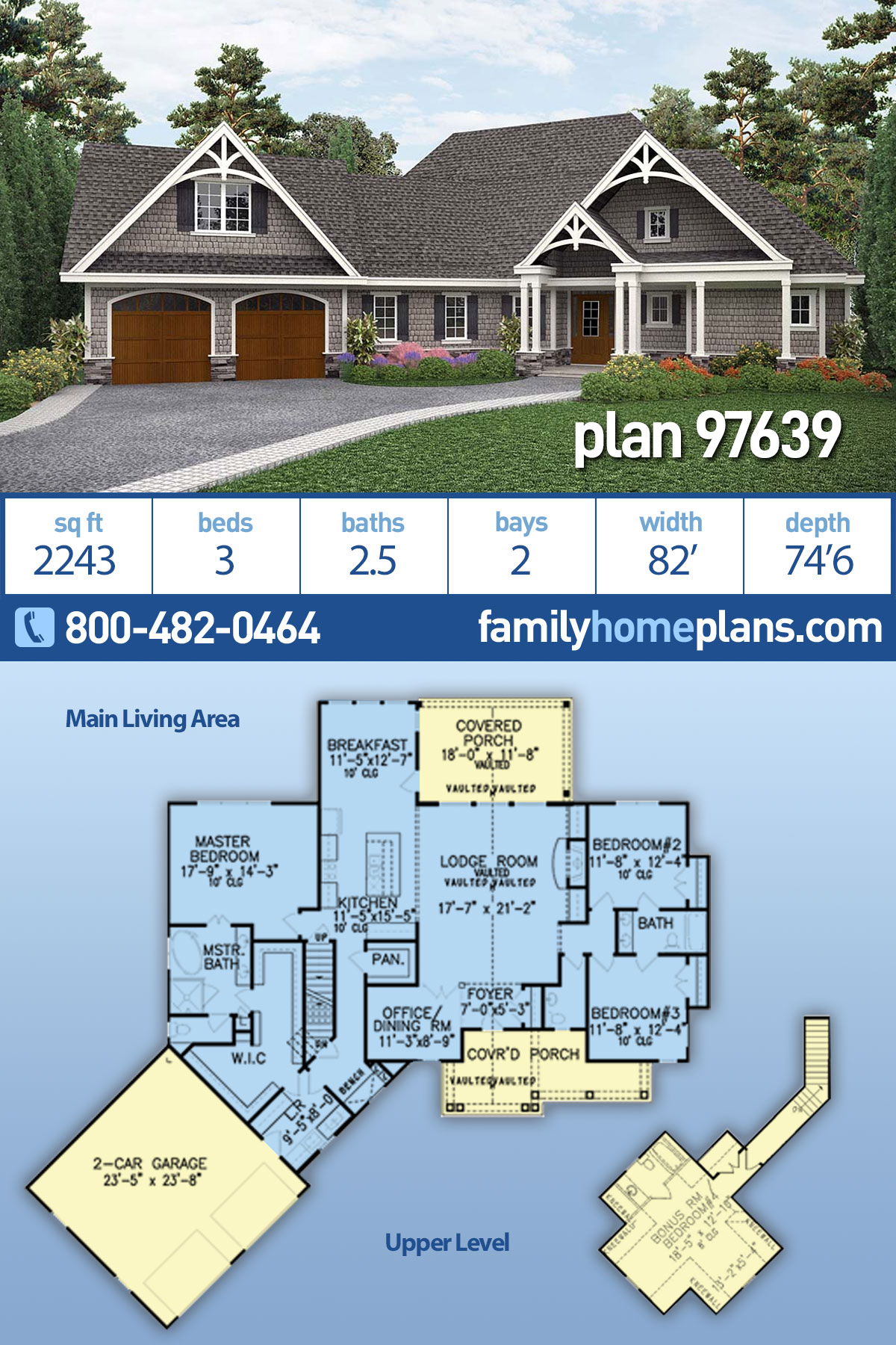 Country , Craftsman , Ranch House Plan 97639 with 3 Beds, 3 Baths, 2 Car Garage