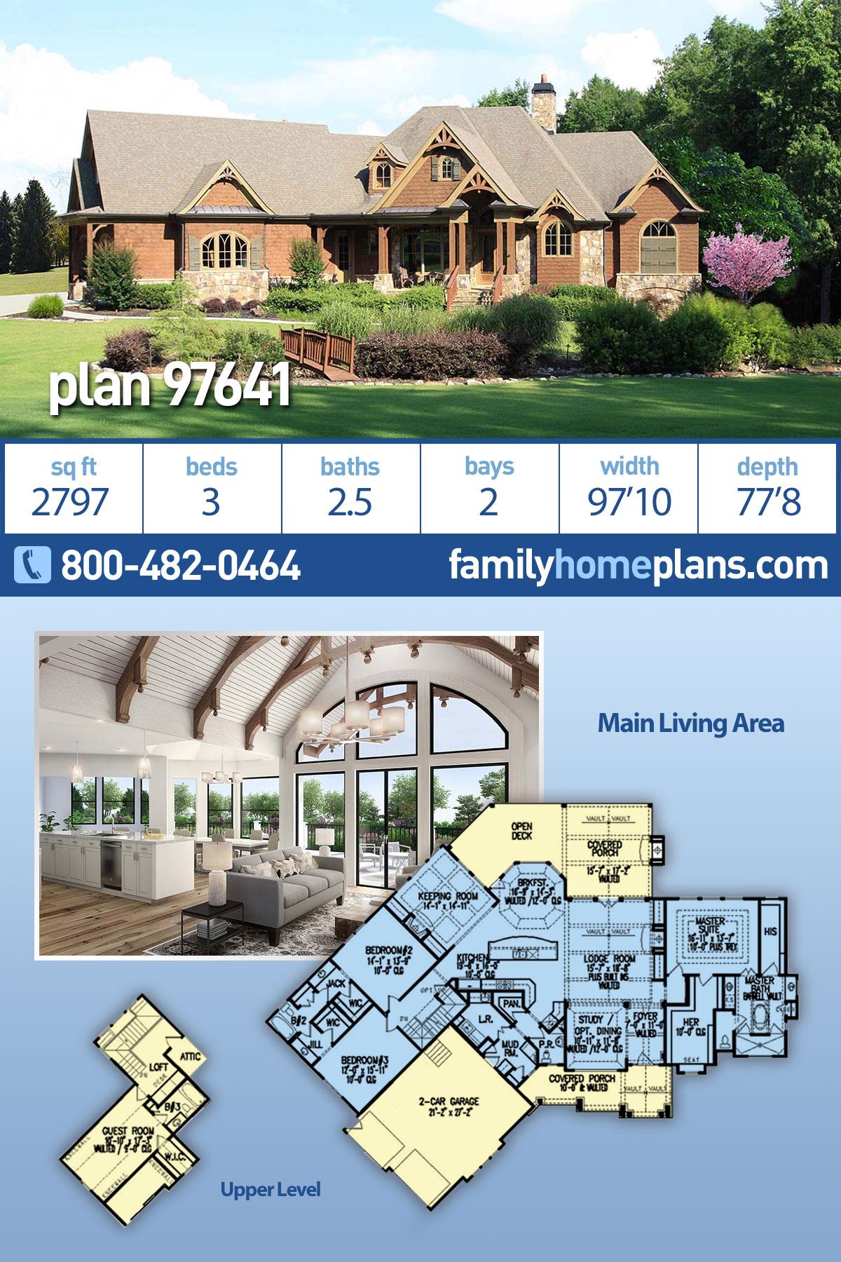 Cottage, Craftsman House Plan 97641 with 3 Beds, 3 Baths, 2 Car Garage