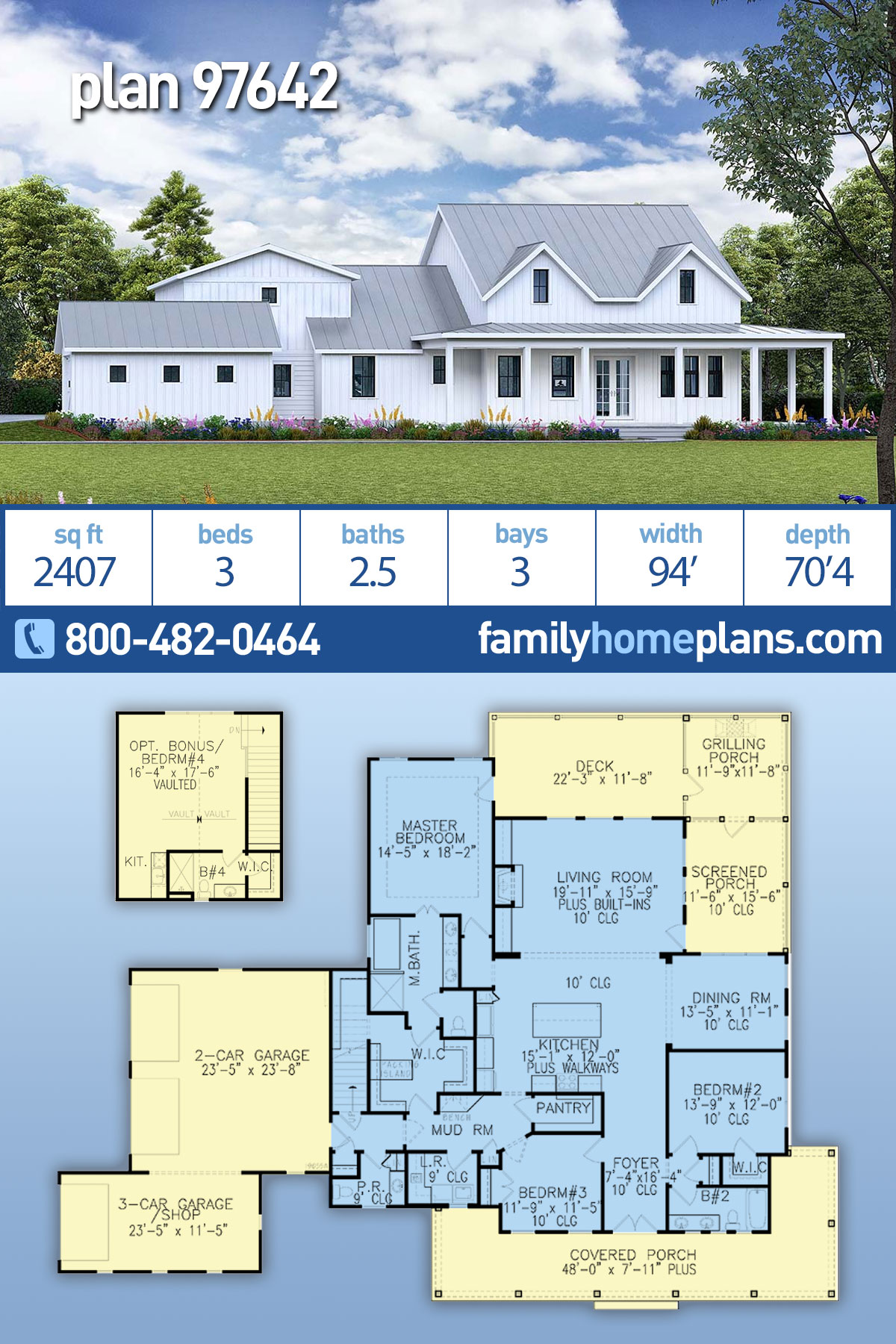 Country, Farmhouse, Modern, Southern House Plan 97642 with 3 Beds, 3 Baths, 3 Car Garage