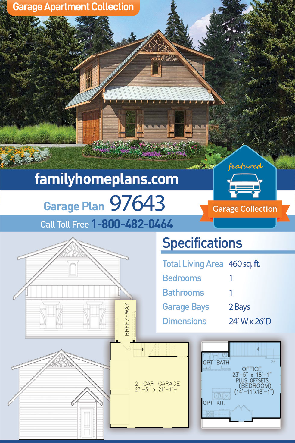 Cabin, Cottage, Craftsman 2 Car Garage Apartment Plan 97643 with 1 Beds , 1 Baths