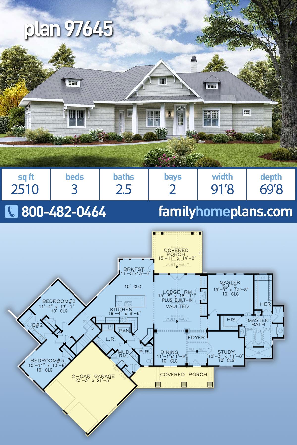 Coastal, Cottage, Craftsman House Plan 97645 with 3 Beds, 3 Baths, 2 Car Garage