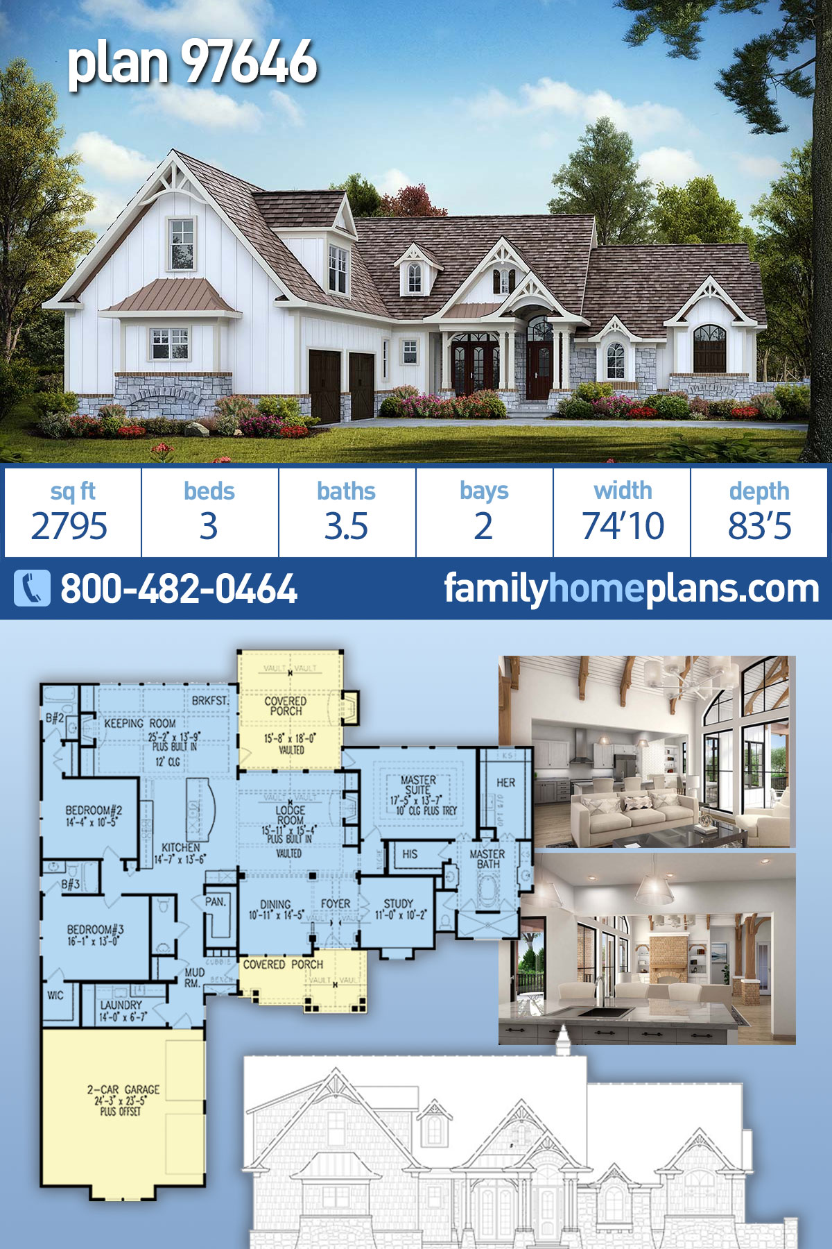 Country, Craftsman House Plan 97646 with 3 Beds , 4 Baths , 2 Car Garage