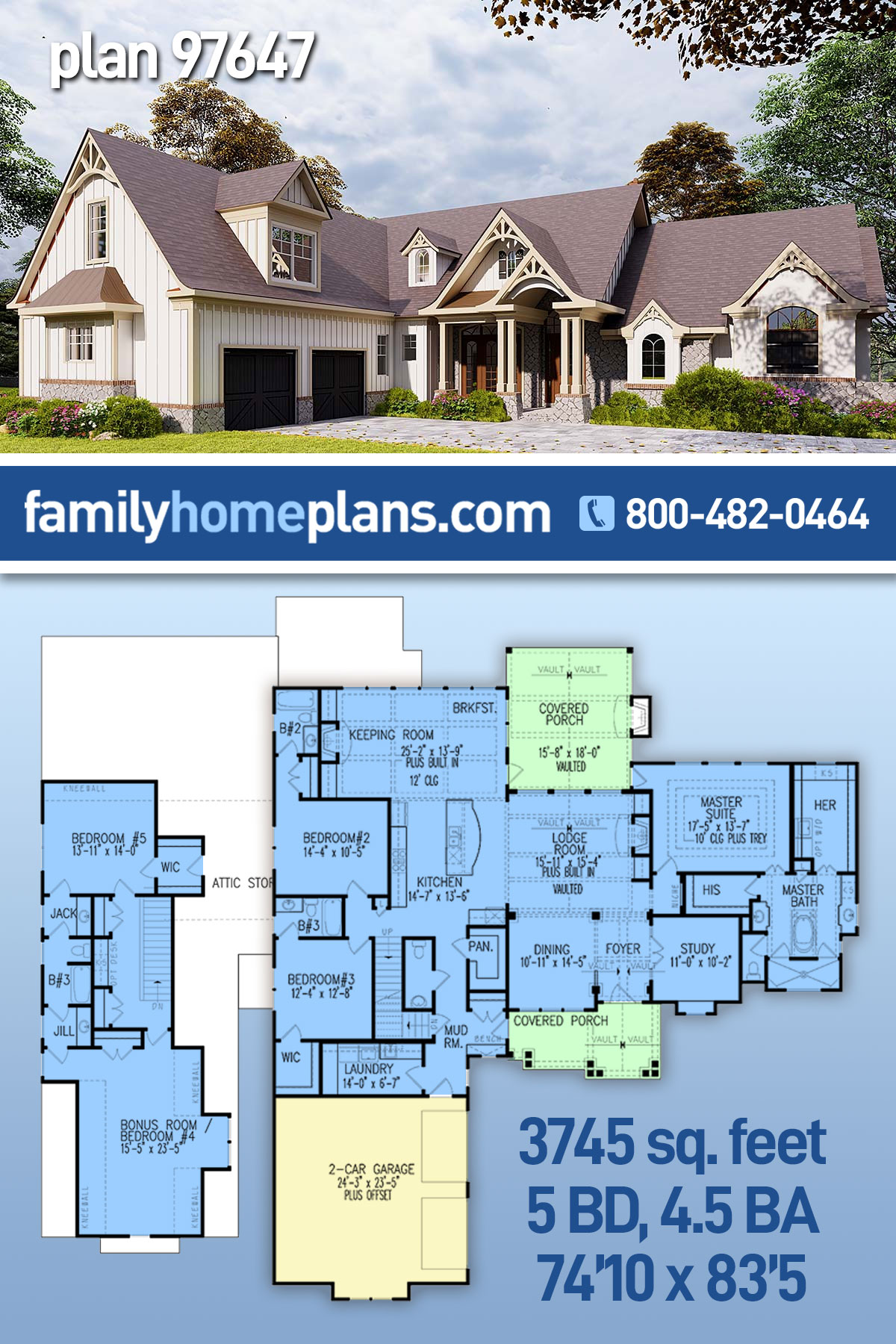 Country, Craftsman House Plan 97647 with 5 Beds, 5 Baths, 2 Car Garage