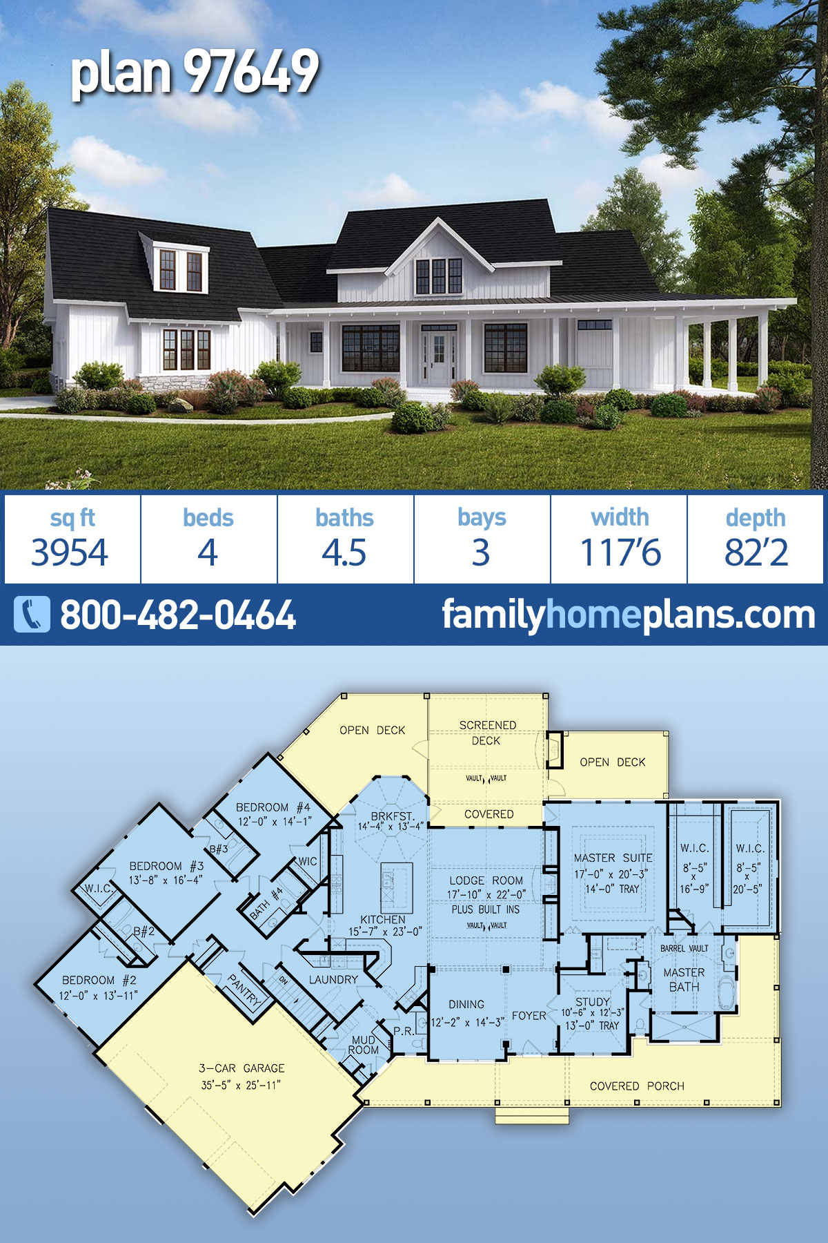 Country, Modern Farmhouse, Southern House Plan 97649 with 4 Beds , 5 Baths , 3 Car Garage