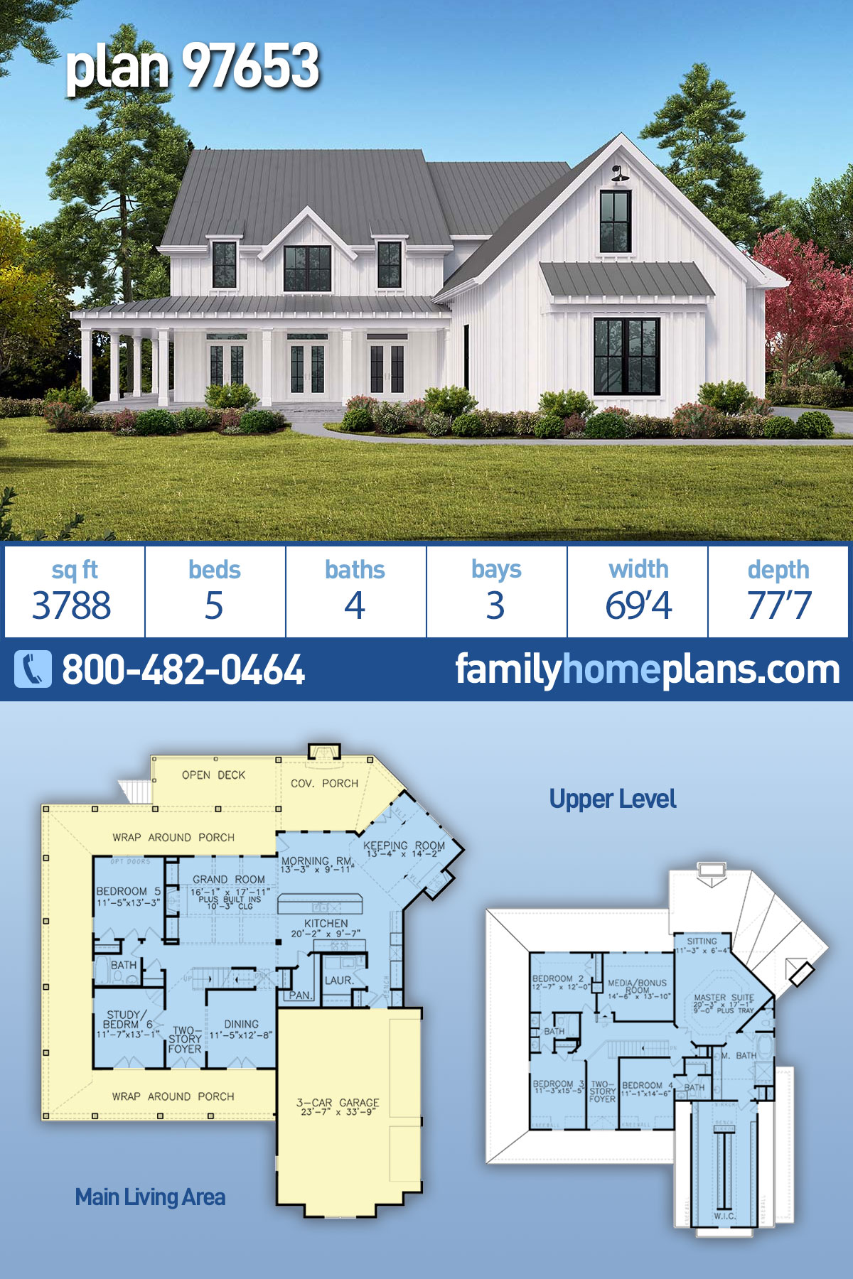Country, Modern Farmhouse, Ranch, Southern House Plan 97653 with 5 Beds , 4 Baths , 3 Car Garage