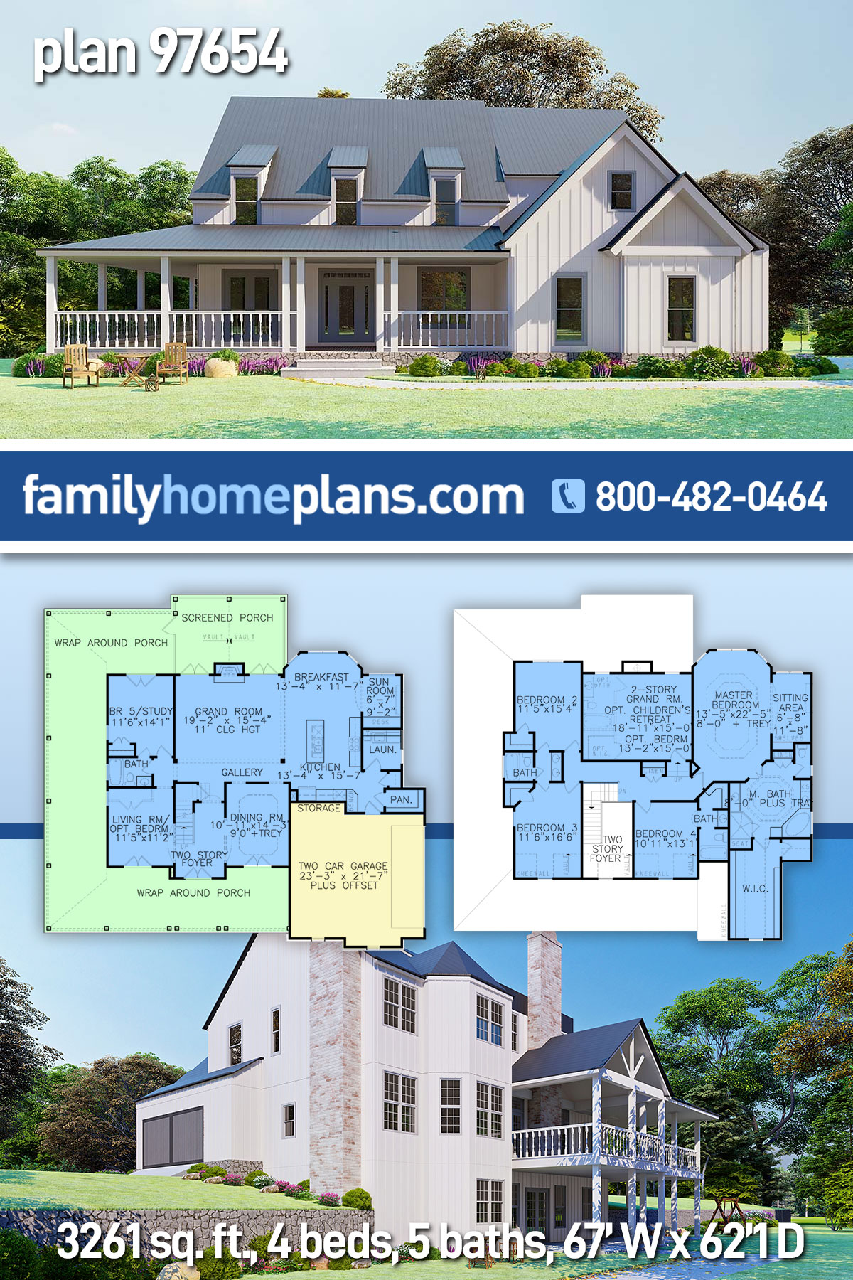 Country, Modern Farmhouse, Ranch, Southern House Plan 97654 with 4 Beds , 5 Baths , 2 Car Garage