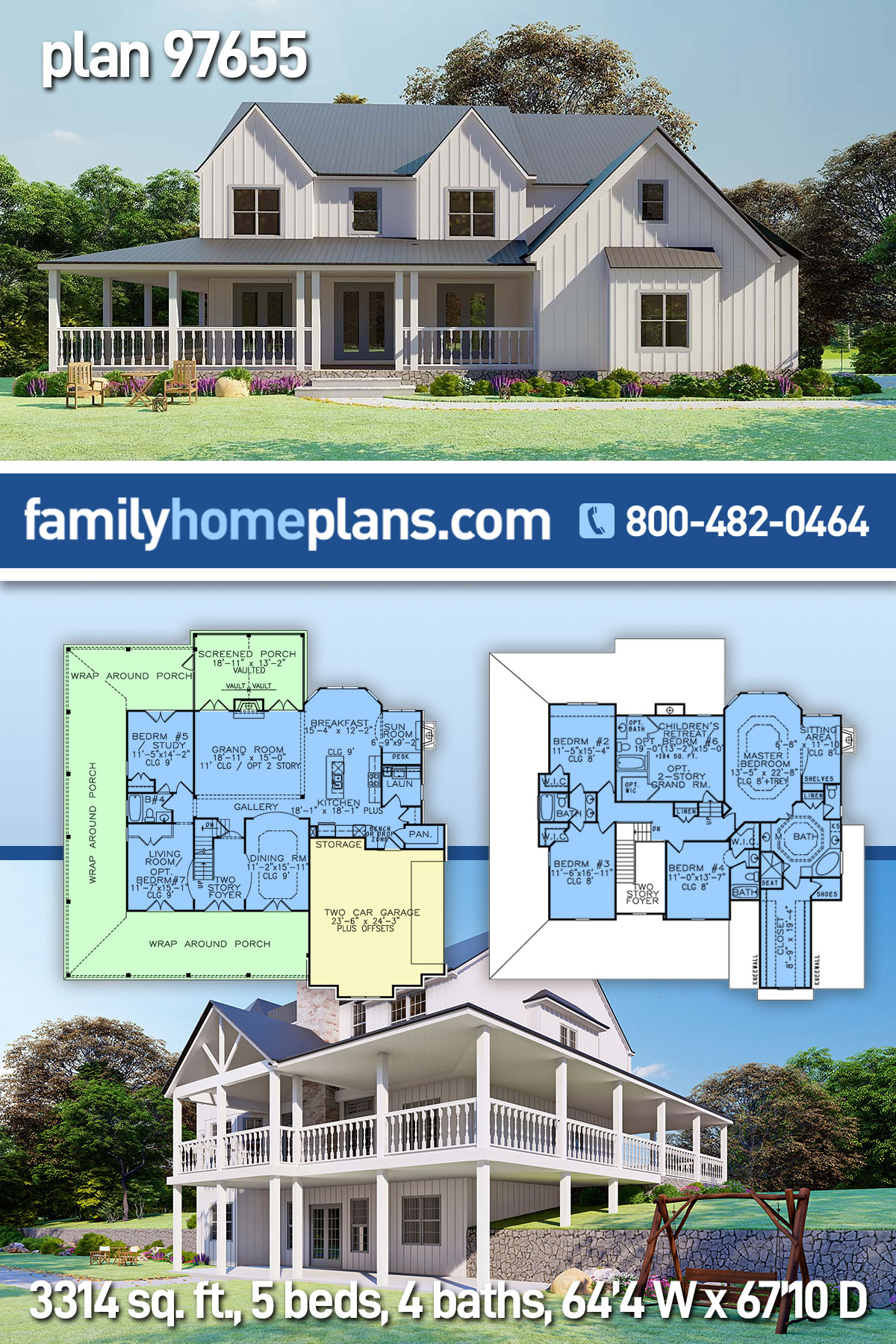 Country, Modern Farmhouse, Ranch, Southern House Plan 97655 with 5 Beds , 4 Baths , 2 Car Garage