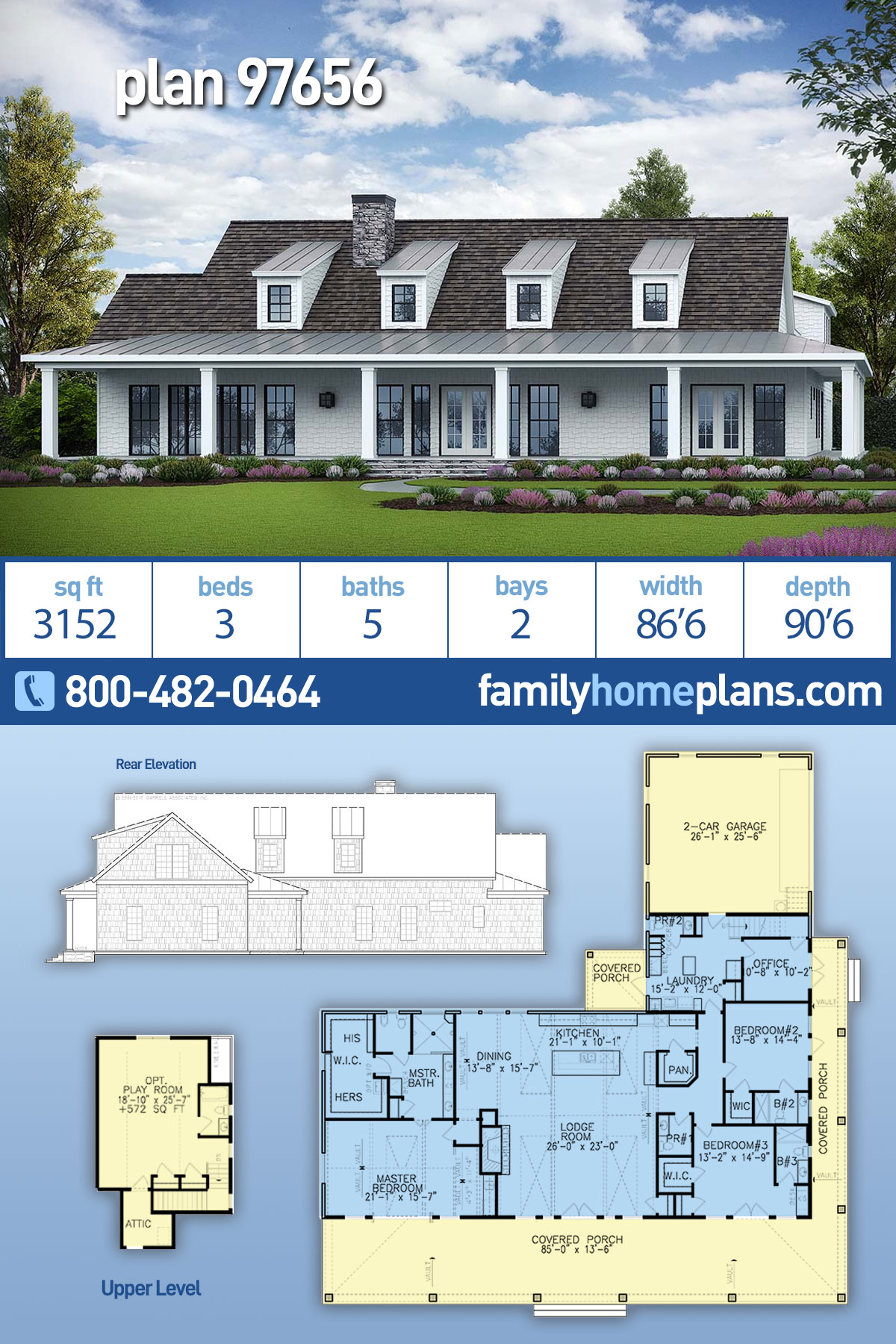 Country, Modern Farmhouse, Southern House Plan 97656 with 3 Beds , 5 Baths , 2 Car Garage