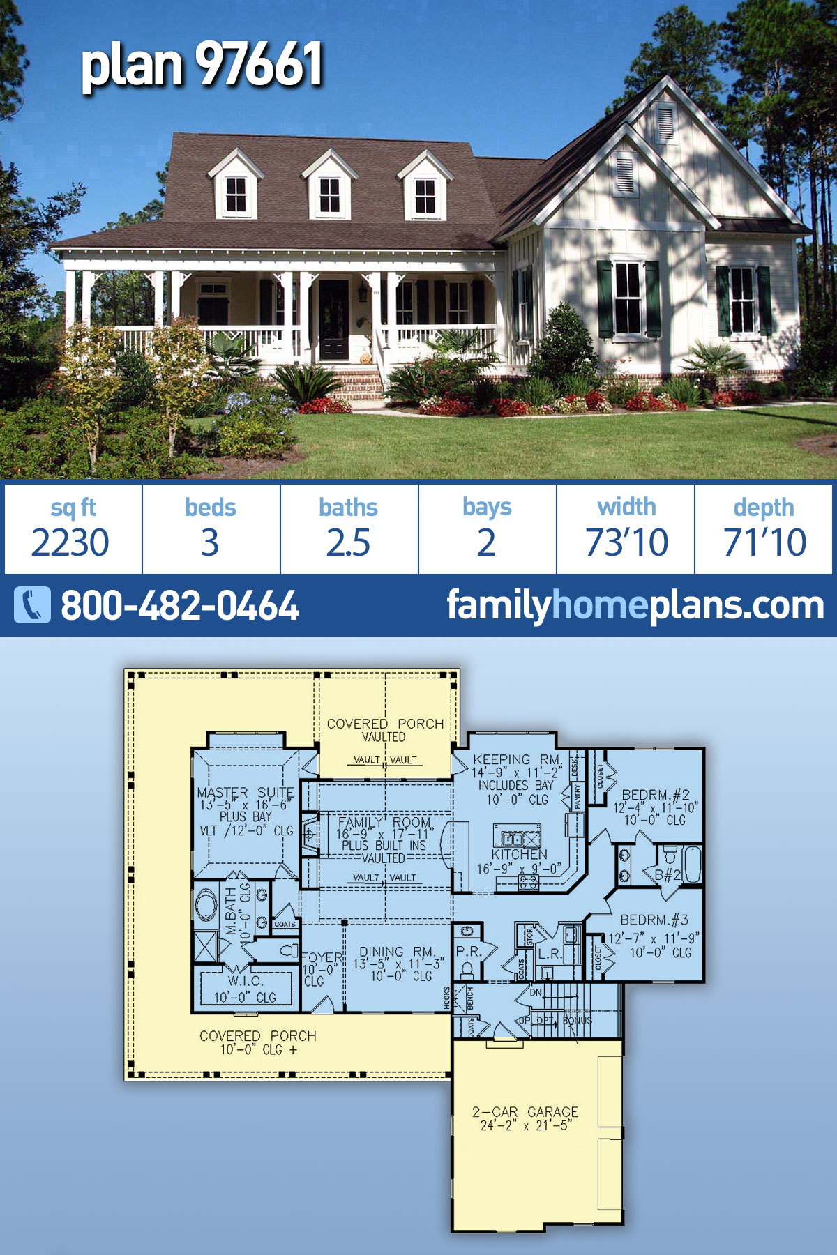 Country, Farmhouse, Southern House Plan 97661 with 3 Beds , 3 Baths , 2 Car Garage