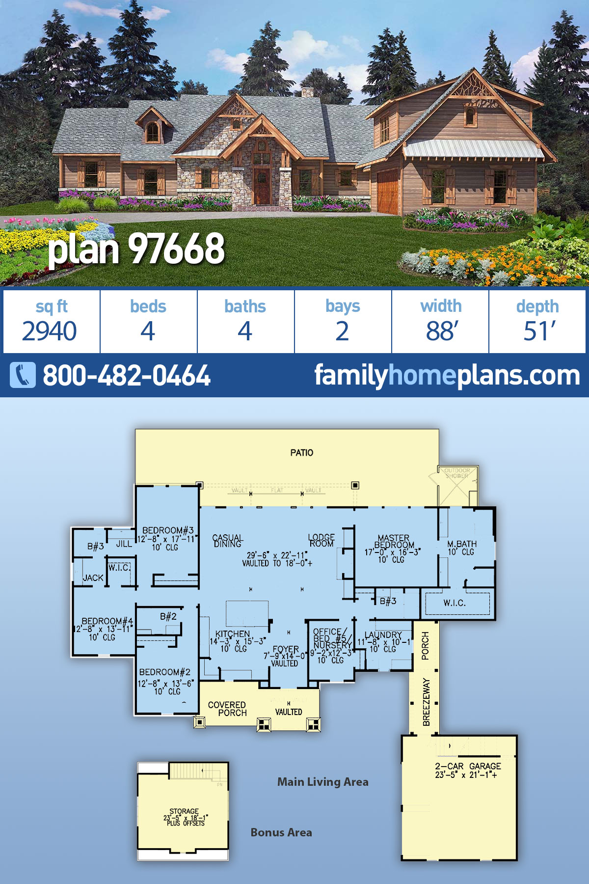 Craftsman, One-Story, Tuscan House Plan 97668 with 4 Beds , 4 Baths , 2 Car Garage