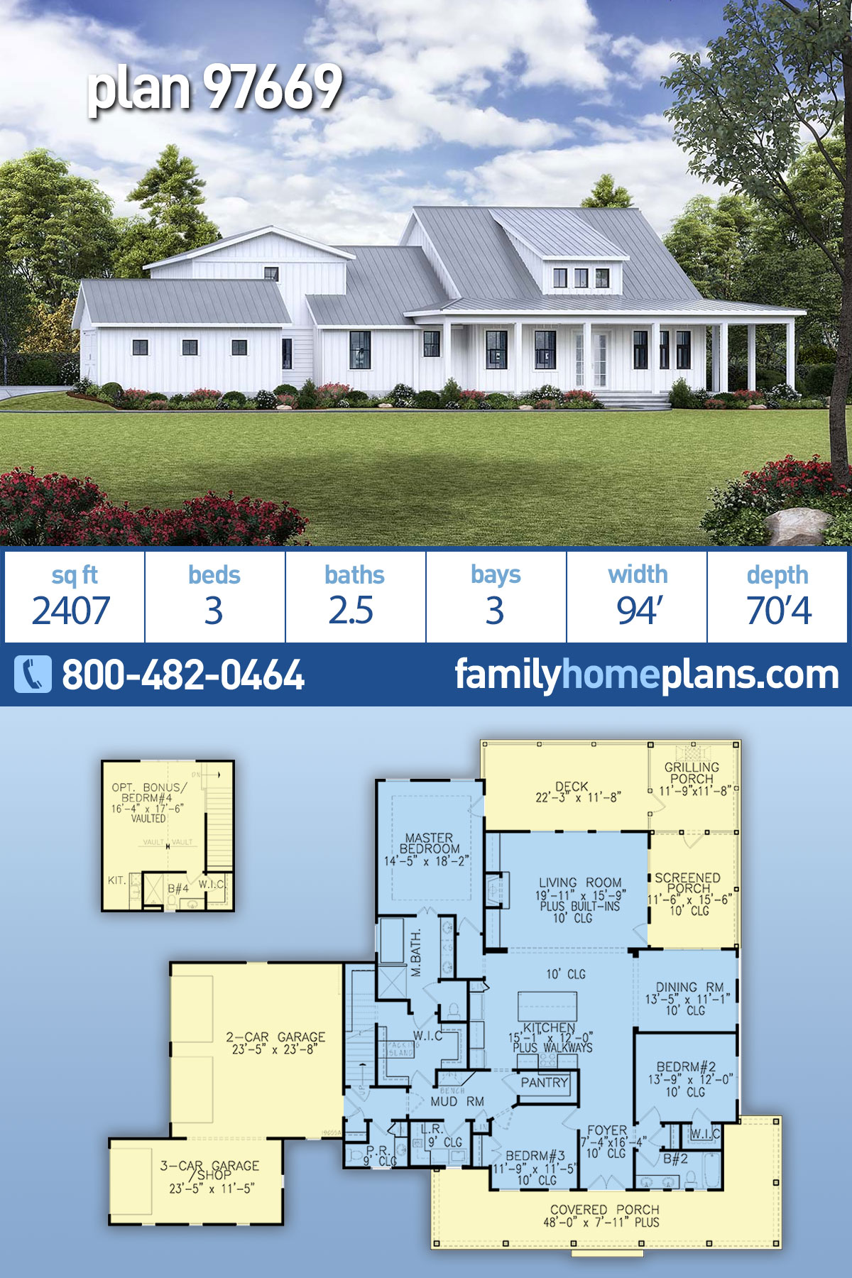 Country, Modern Farmhouse, Modern, Southern House Plan 97669 with 3 Beds , 3 Baths , 3 Car Garage