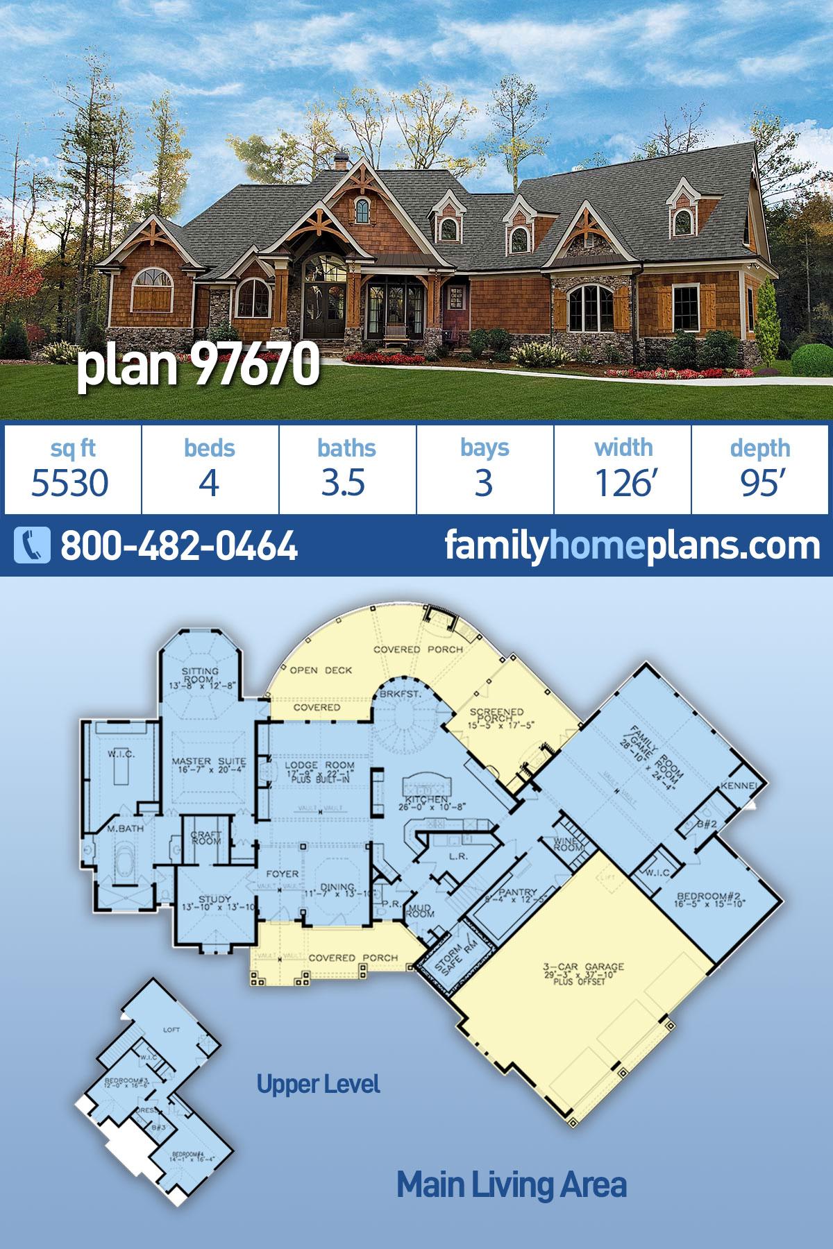 Craftsman, Ranch, Tuscan House Plan 97670 with 4 Beds , 4 Baths , 3 Car Garage