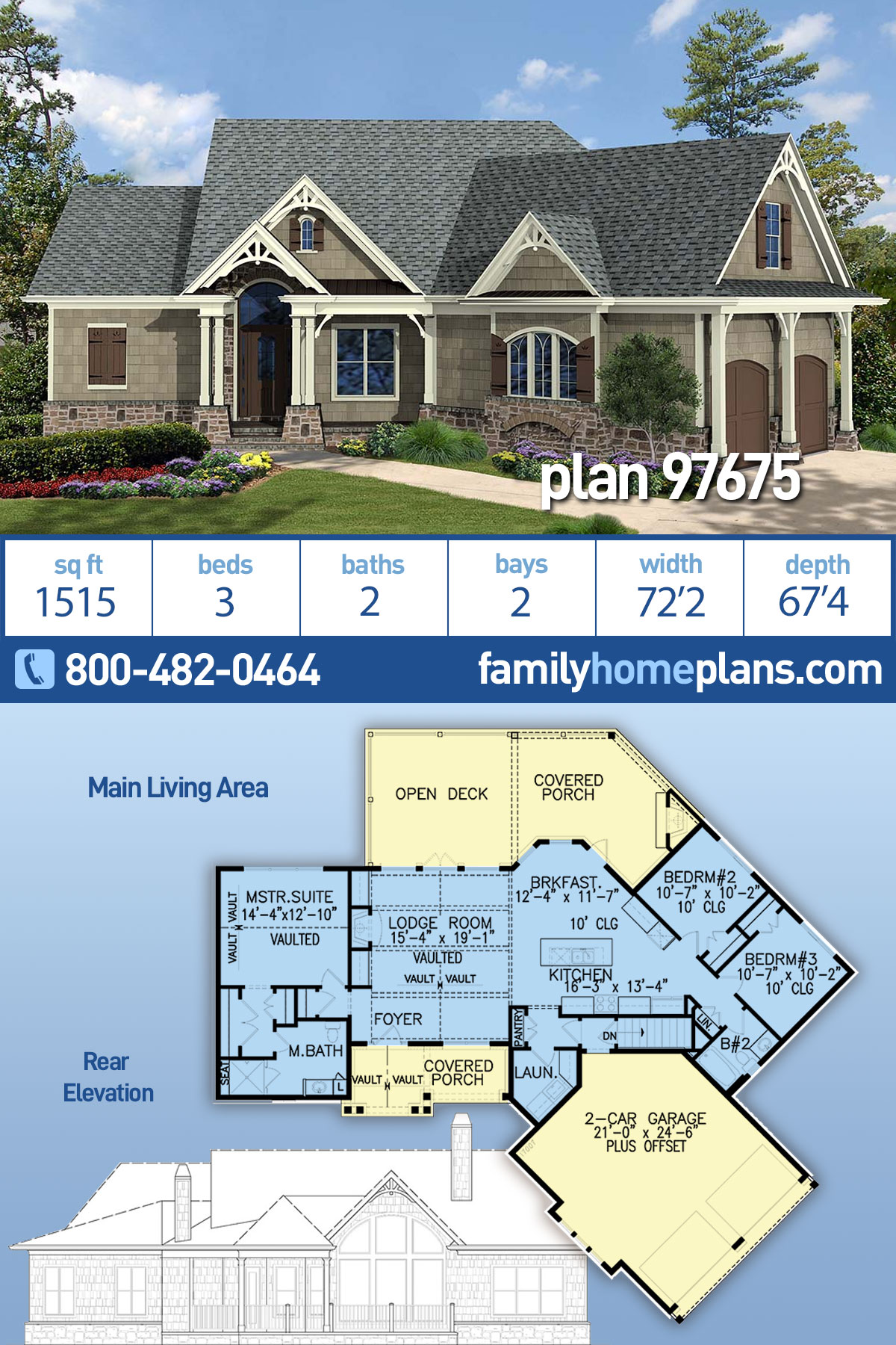 Craftsman, One-Story, Ranch House Plan 97675 with 3 Beds, 2 Baths, 2 Car Garage