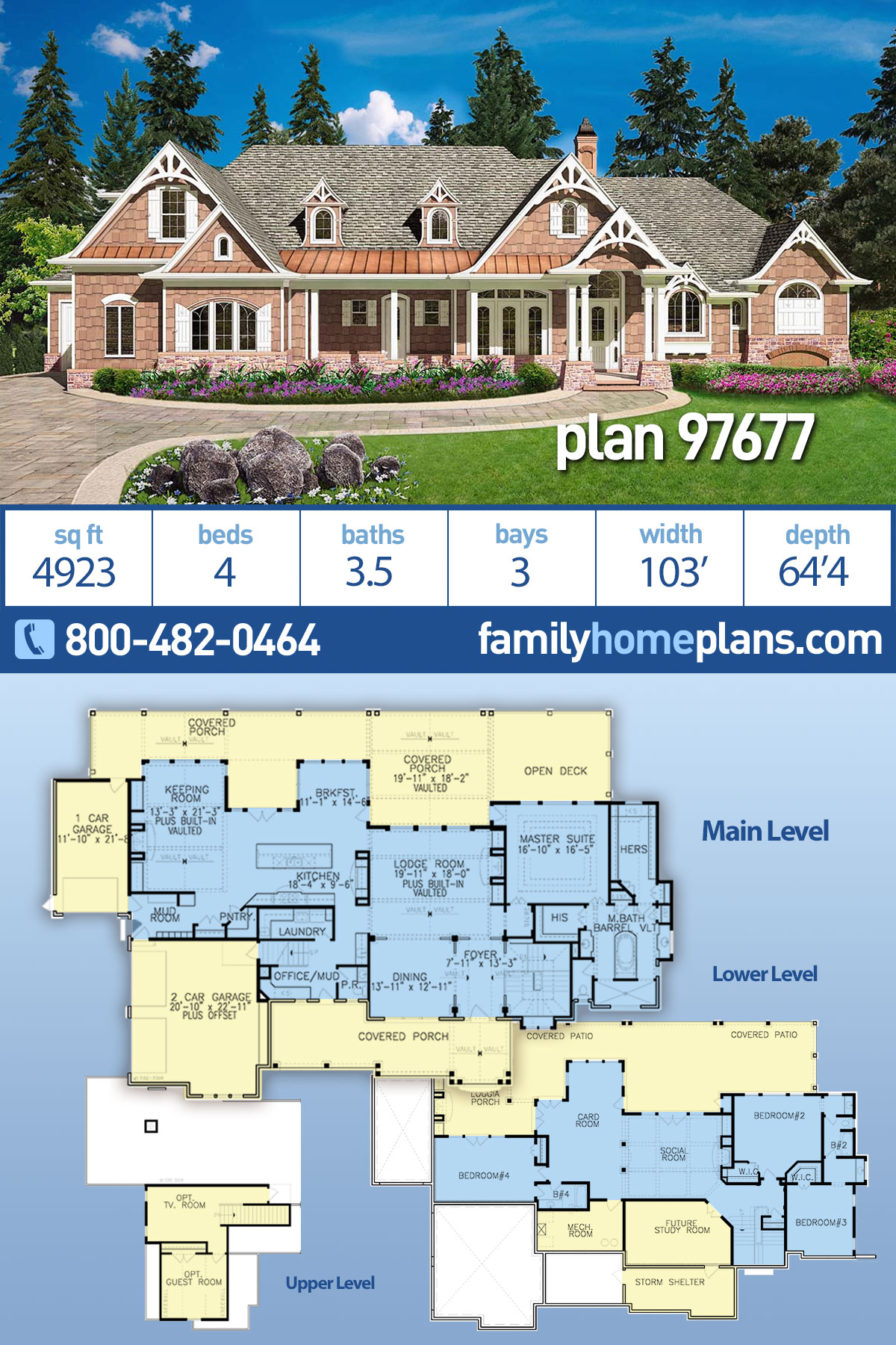 Country, Farmhouse, Southern House Plan 97677 with 4 Beds, 4 Baths, 3 Car Garage