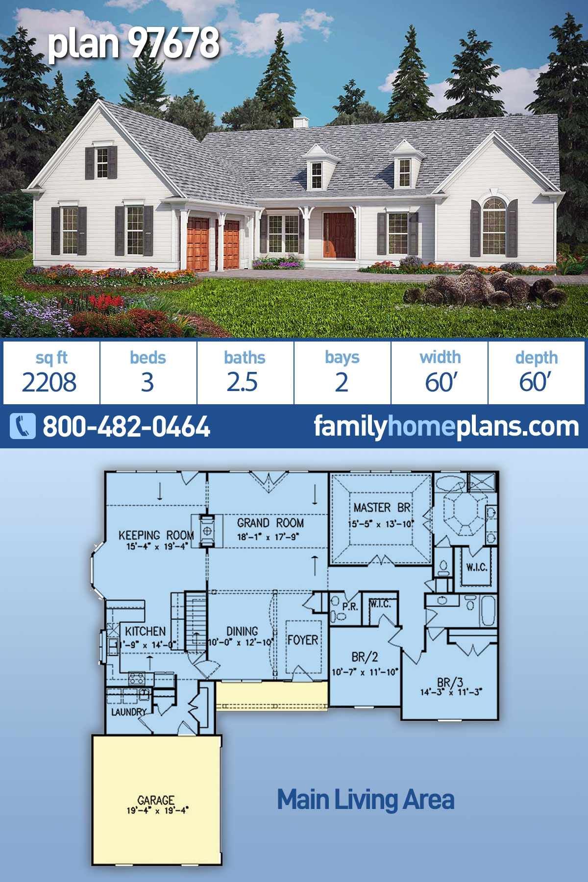 Country, Ranch, Traditional House Plan 97678 with 3 Beds, 3 Baths, 2 Car Garage