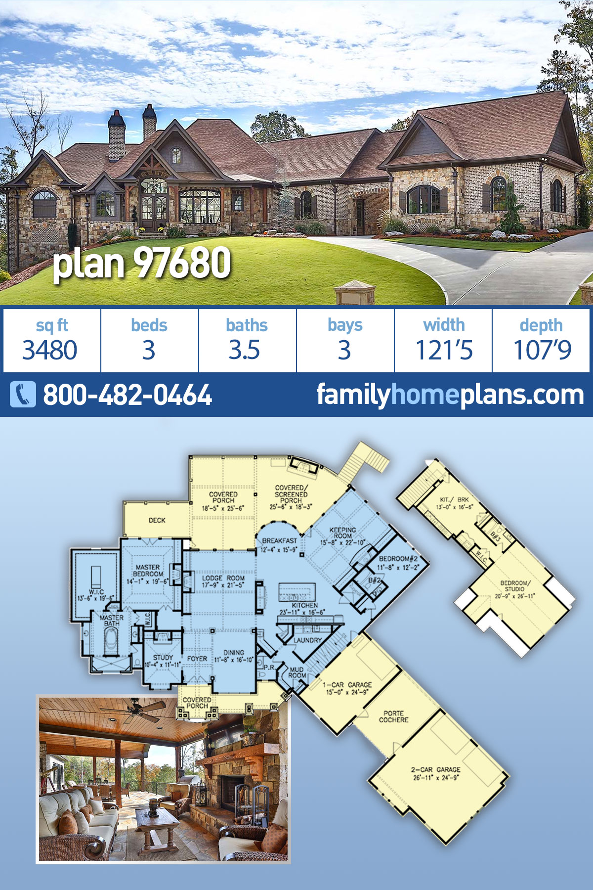 Craftsman, Ranch, Tuscan House Plan 97680 with 3 Beds, 4 Baths, 3 Car Garage