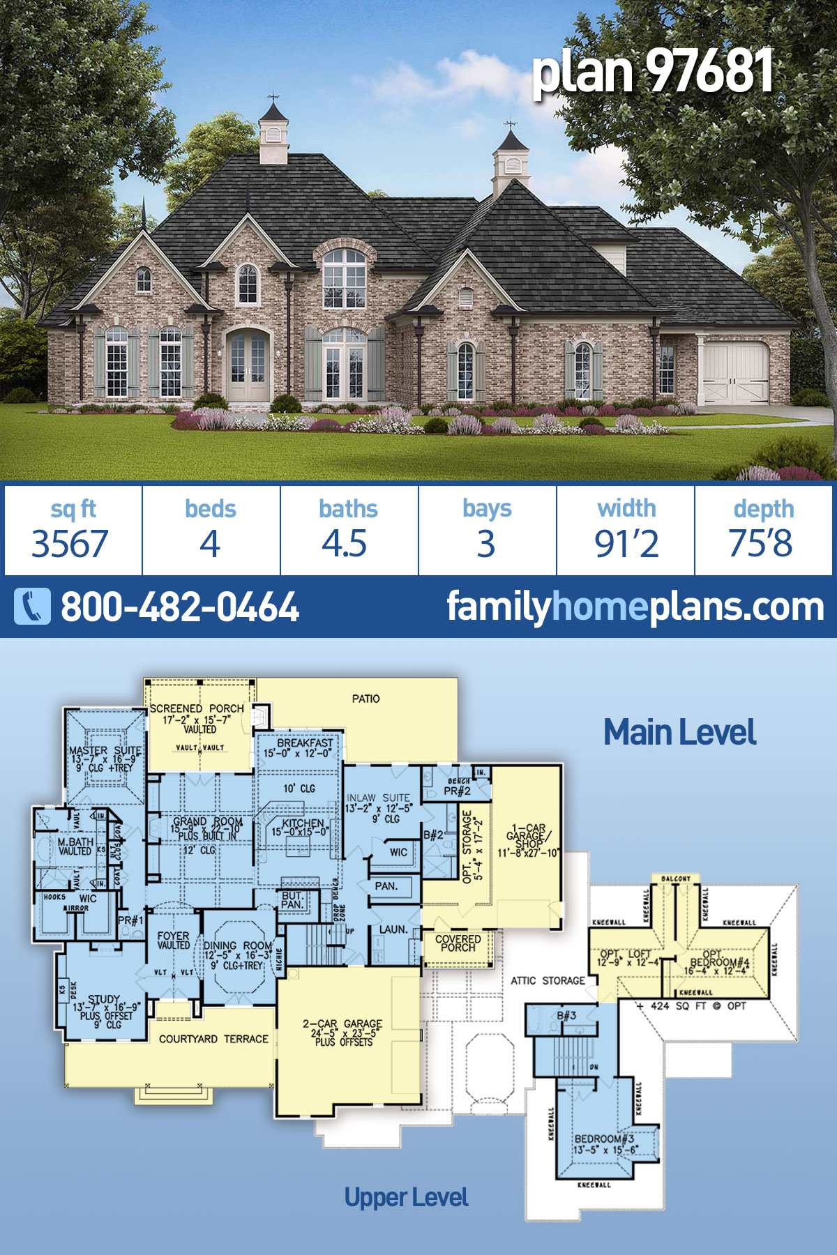 Traditional, Tudor House Plan 97681 with 4 Beds , 5 Baths , 3 Car Garage