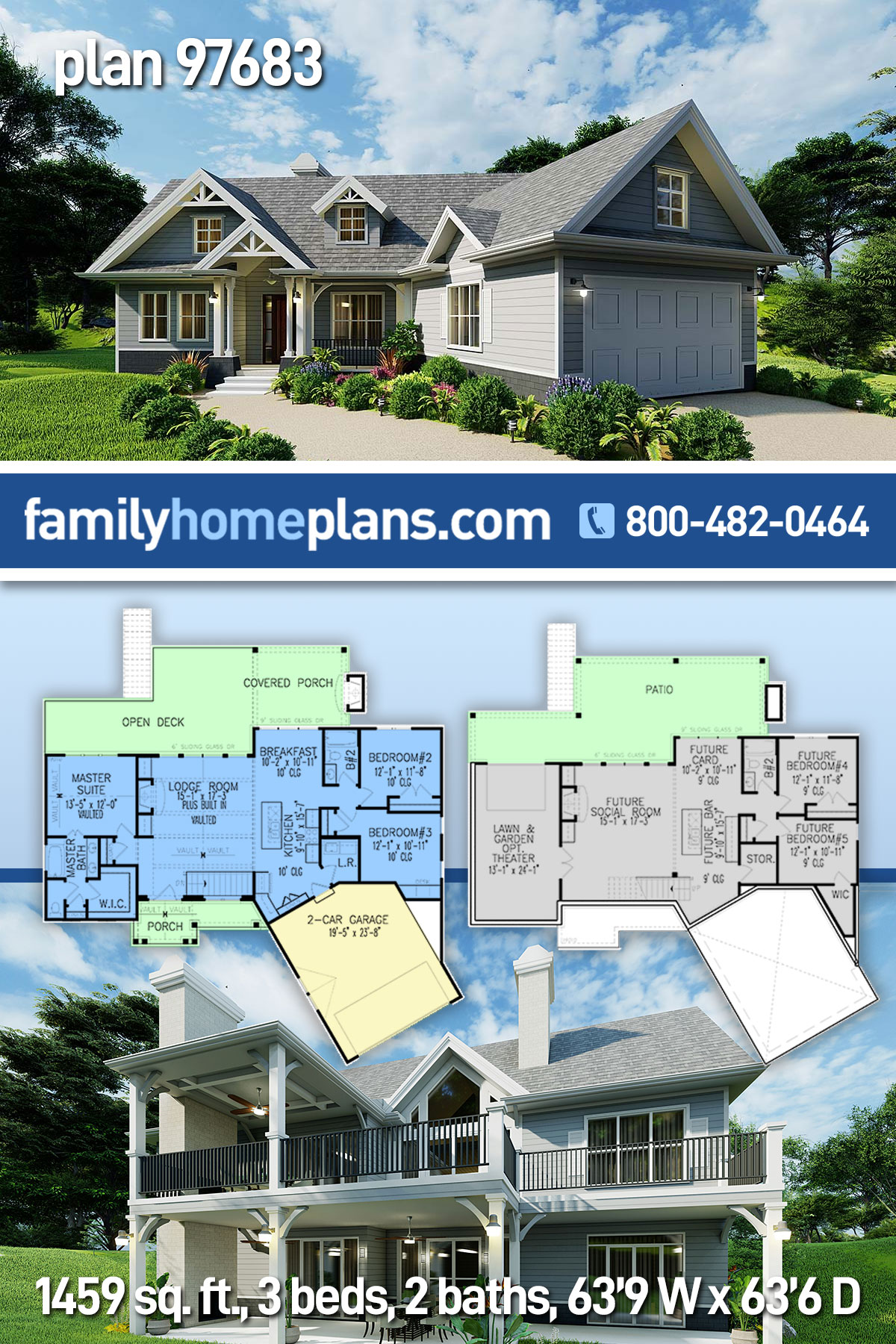 Cottage, Craftsman, One-Story House Plan 97683 with 3 Beds , 2 Baths , 2 Car Garage