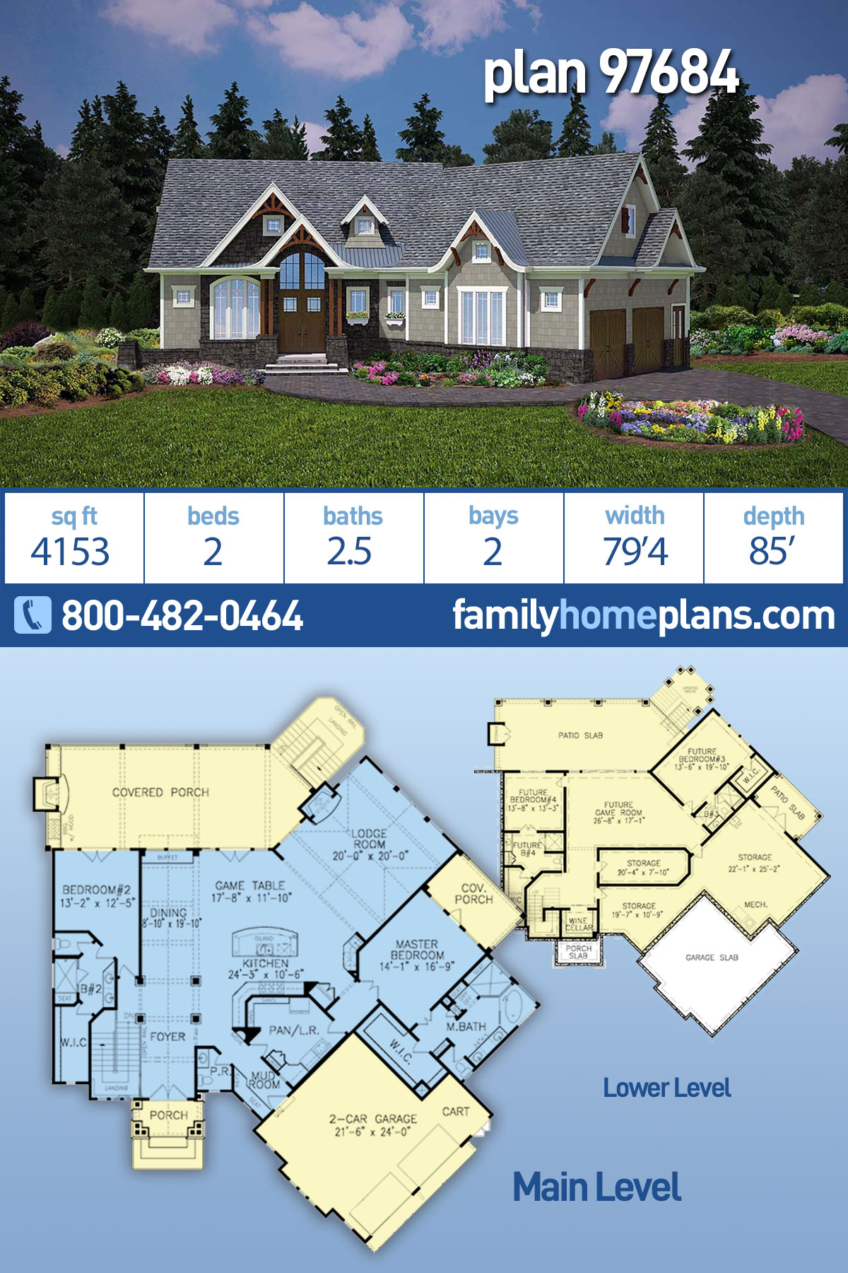 Cottage, Craftsman, One-Story House Plan 97684 with 2 Beds , 3 Baths , 2 Car Garage