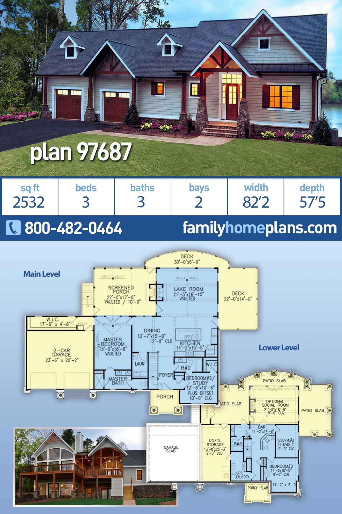 Craftsman, One-Story, Ranch, Traditional House Plan 97687 with 3 Beds, 3 Baths, 2 Car Garage