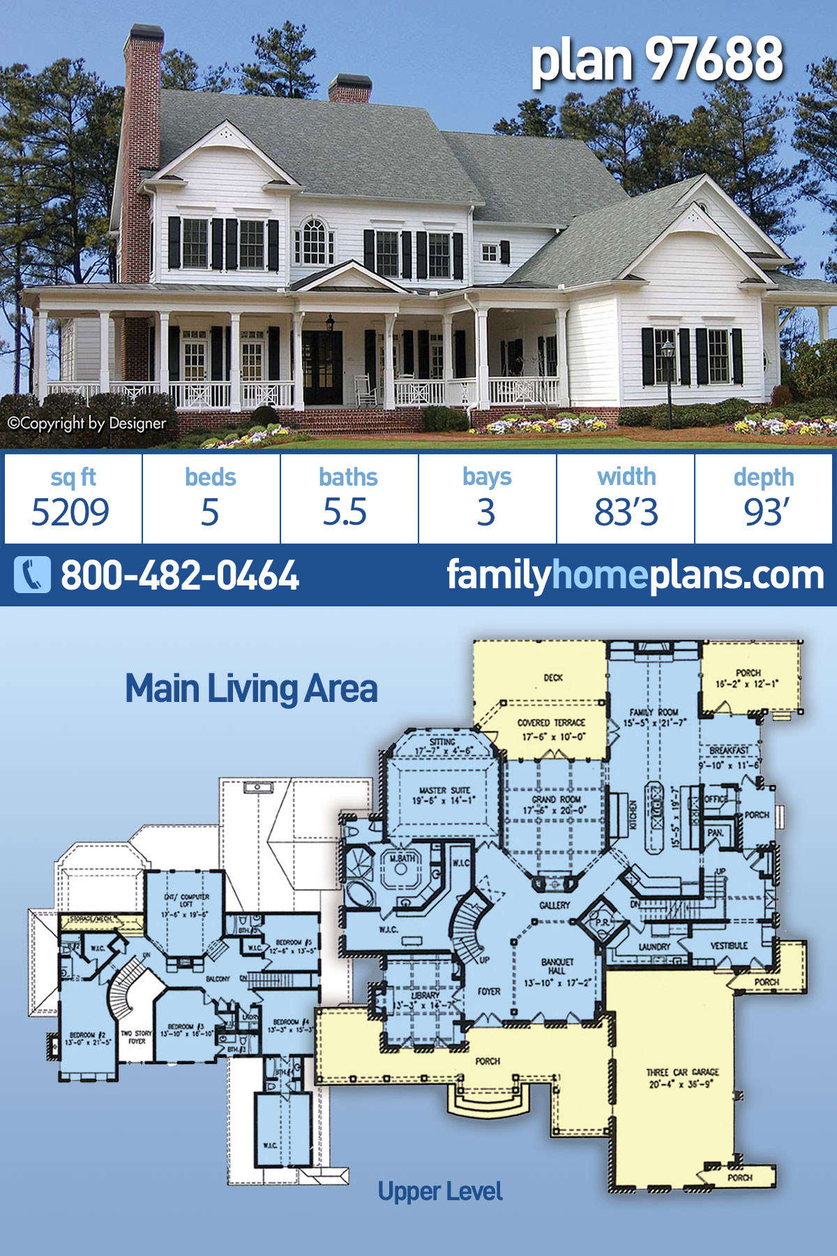 Country, Farmhouse, Southern, Traditional House Plan 97688 with 5 Beds, 6 Baths, 3 Car Garage
