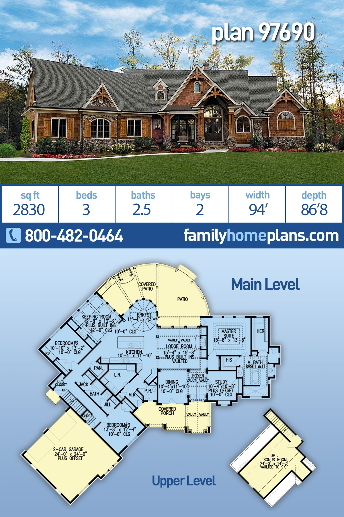 Craftsman, Ranch House Plan 97690 with 3 Beds , 3 Baths , 2 Car Garage
