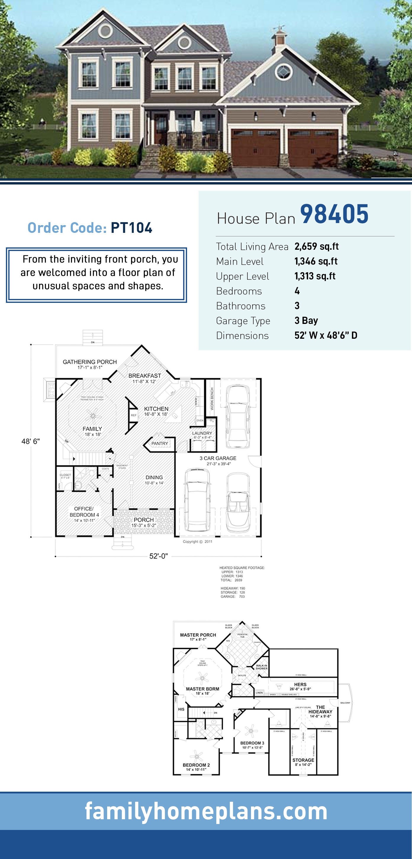 Craftsman House Plan 98405 with 4 Beds, 3 Baths, 3 Car Garage