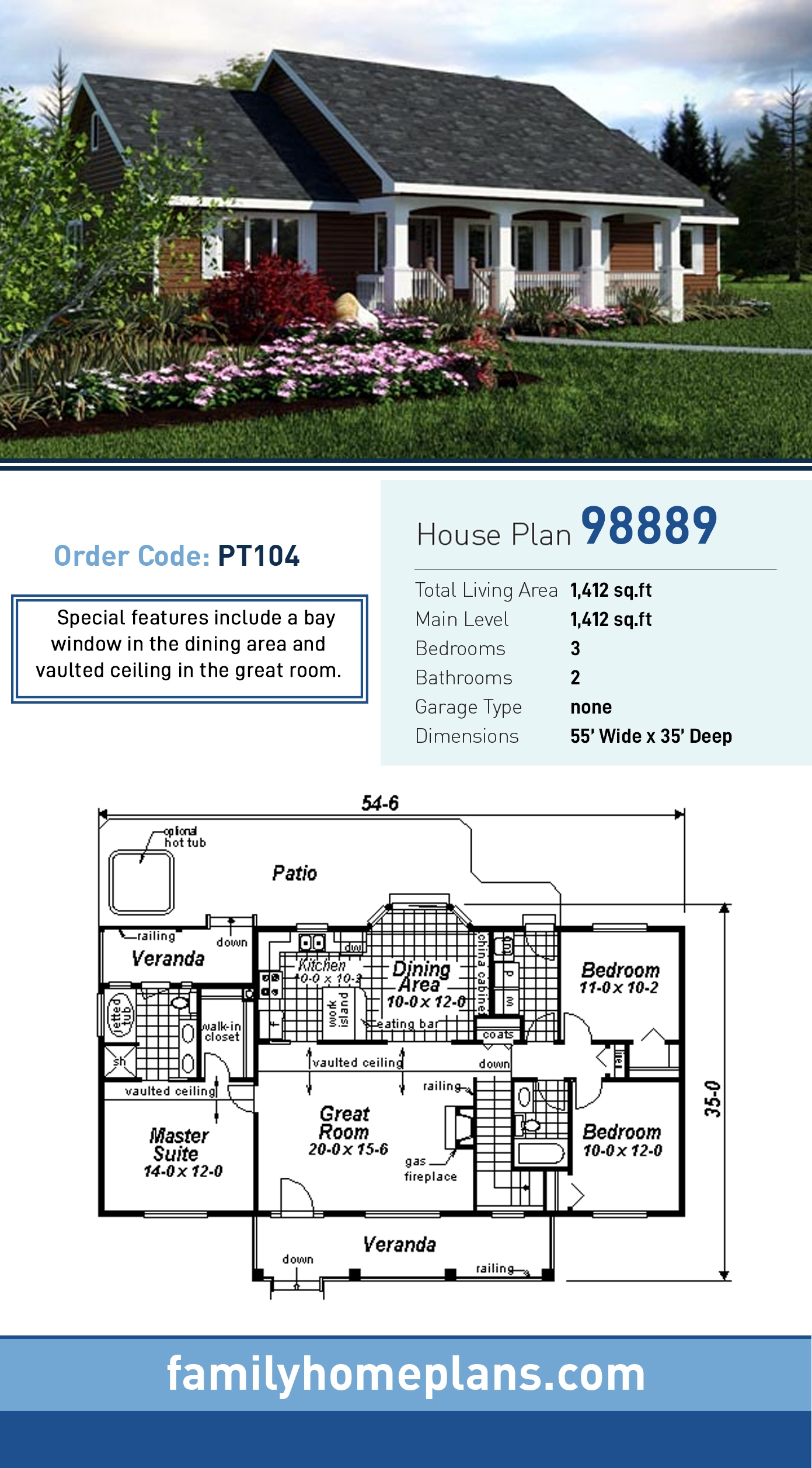 Ranch House Plan 98889 with 3 Beds, 2 Baths
