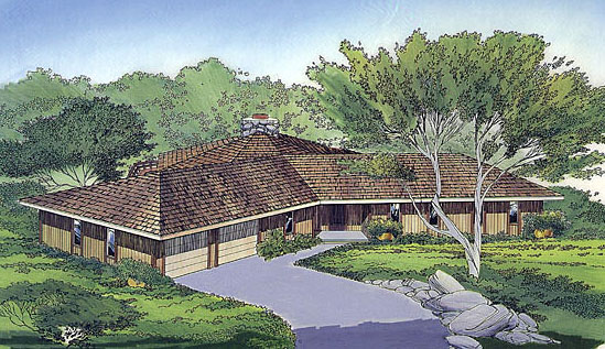 Contemporary Ranch Retro House Plan 10274 Elevation