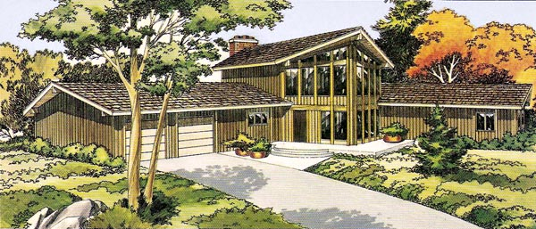 House Plan 10380 | Contemporary Retro Style Plan with 2535 Sq Ft, 3 Bedrooms, 3 Bathrooms, 2 Car Garage Elevation