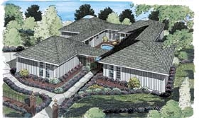 House Plan 10507 | Contemporary Ranch Style Plan with 2189 Sq Ft, 3 Bedrooms, 2 Bathrooms, 2 Car Garage Elevation
