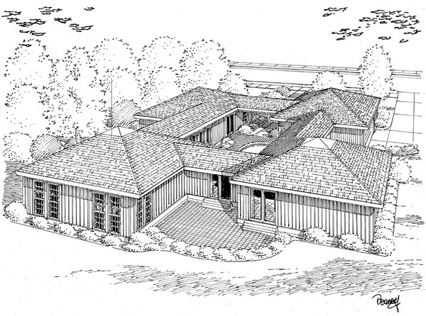 House Plan 10507 | Contemporary Ranch Style Plan with 2189 Sq Ft, 3 Bedrooms, 2 Bathrooms, 2 Car Garage Rear Elevation