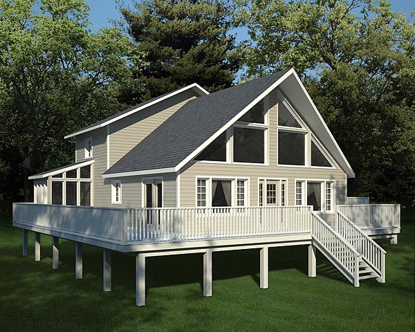 Cabin Contemporary Elevation of Plan 10515