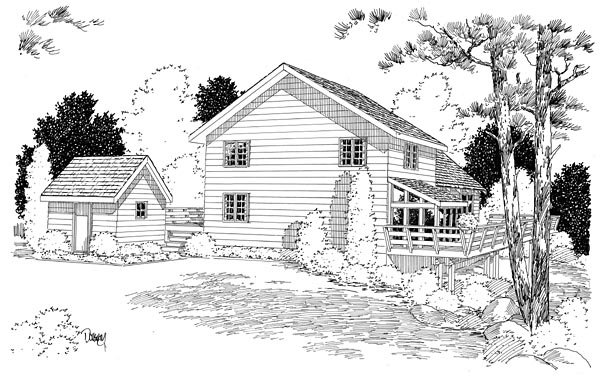 Cabin Contemporary Rear Elevation of Plan 10515