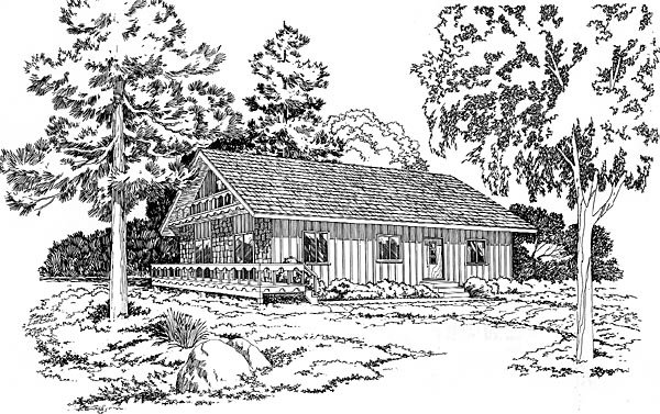 House Plan 10518 | Bungalow Cottage Ranch Style Plan with 1171 Sq Ft, 3 Bedrooms, 2 Bathrooms Elevation