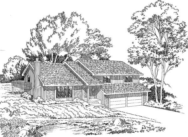 Contemporary, Retro House Plan 10524 with 4 Beds, 3 Baths, 2 Car Garage Elevation