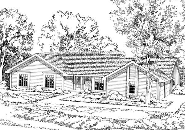 One-Story, Ranch, Retro, Traditional House Plan 10569 with 4 Beds, 3 Baths, 2 Car Garage Front Elevation