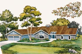 Contemporary Ranch Retro Traditional House Plan 10570 Elevation