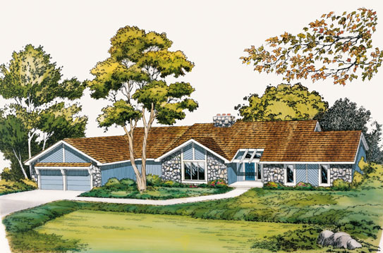 Contemporary, One-Story, Ranch, Retro, Traditional House Plan 10570 with 4 Beds, 2 Baths, 2 Car Garage Front Elevation