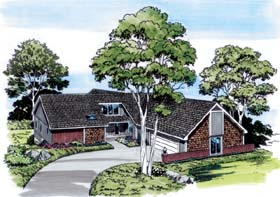 House Plan 10583 | Contemporary Retro Style Plan with 3903 Sq Ft, 4 Bedrooms, 3 Bathrooms, 4 Car Garage Elevation
