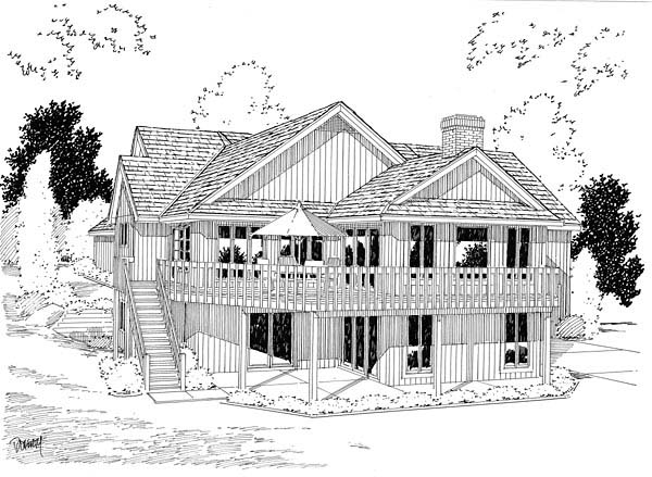 House Plan 10583 | Contemporary Retro Style Plan with 3903 Sq Ft, 4 Bedrooms, 3 Bathrooms, 4 Car Garage Rear Elevation