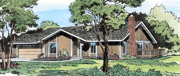 Contemporary Ranch Retro House Plan 10594 Elevation