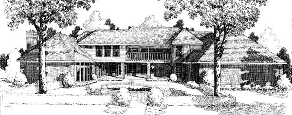 European Traditional House Plan 10615 Rear Elevation