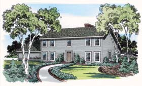 Colonial Saltbox House Plan 10659 Elevation