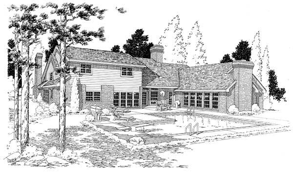 European Traditional House Plan 10696 Rear Elevation