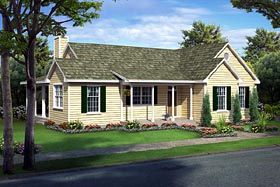 House Plan 10748 | Country Farmhouse Ranch Traditional Style Plan with 1540 Sq Ft, 3 Bedrooms, 2 Bathrooms Elevation