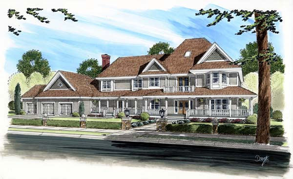 Country, Farmhouse House Plan 10768 with 5 Beds, 4 Baths, 3 Car Garage Elevation
