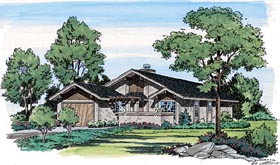 Contemporary Craftsman Ranch Retro House Plan 10772 Elevation