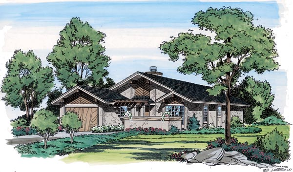 Contemporary, Craftsman, Narrow Lot, One-Story, Ranch, Retro House Plan 10772 with 2 Beds, 2 Baths, 1 Car Garage Elevation