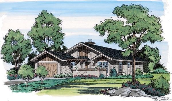 Contemporary Craftsman Ranch Retro House Plan 10772 Elevation